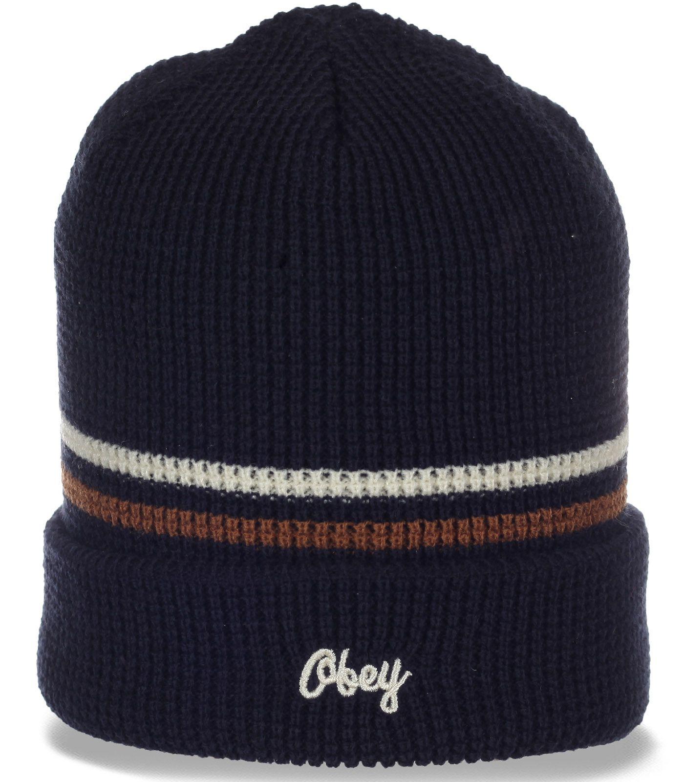 Топовая мужская шапка с отворотом от Obey