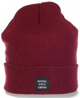 Топовая трикотажная женская шапка ребристой вязки с отворотом популярная модель