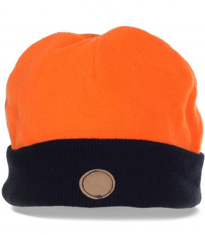 Топовая яркая мужская шапка утепленная флисом с контрастным отворотом. Теперь не страшен мороз и ледяной ветер