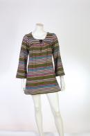 Трапециевидное мини платье в полоску