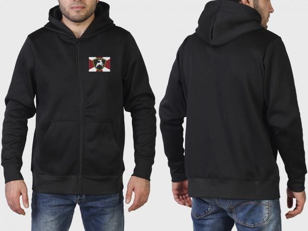 Трендовая черная толстовка с карманами и символикой МВД