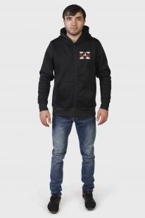 Трендовая черная толстовка с карманами и символикой МВД - купить онлайн
