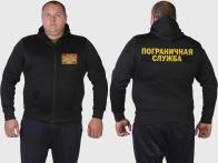 Трендовая черная толстовка с карманами и символикой Погранвойск