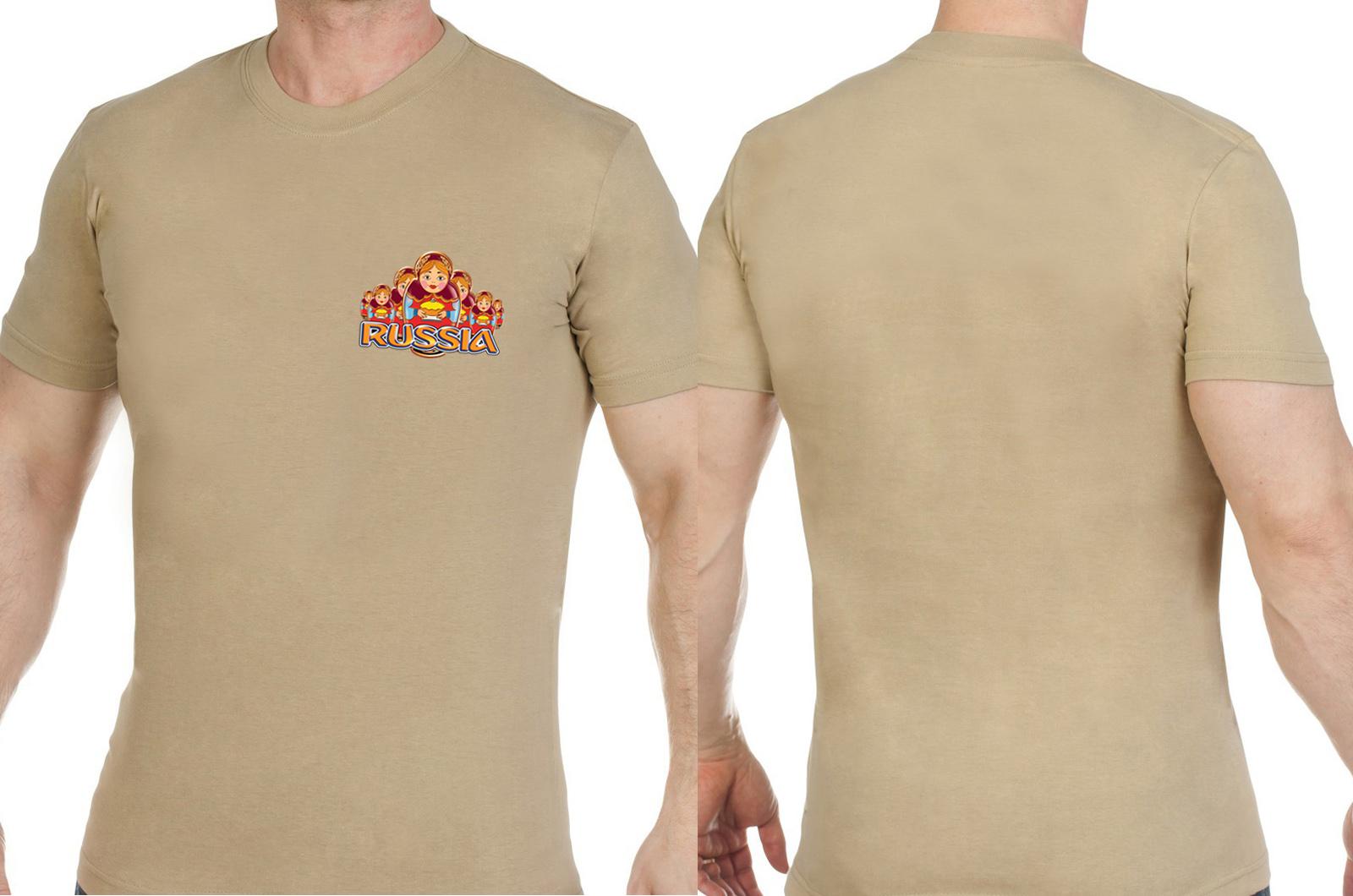 Трендовая хлопковая футболка Россия - заказать выгодно