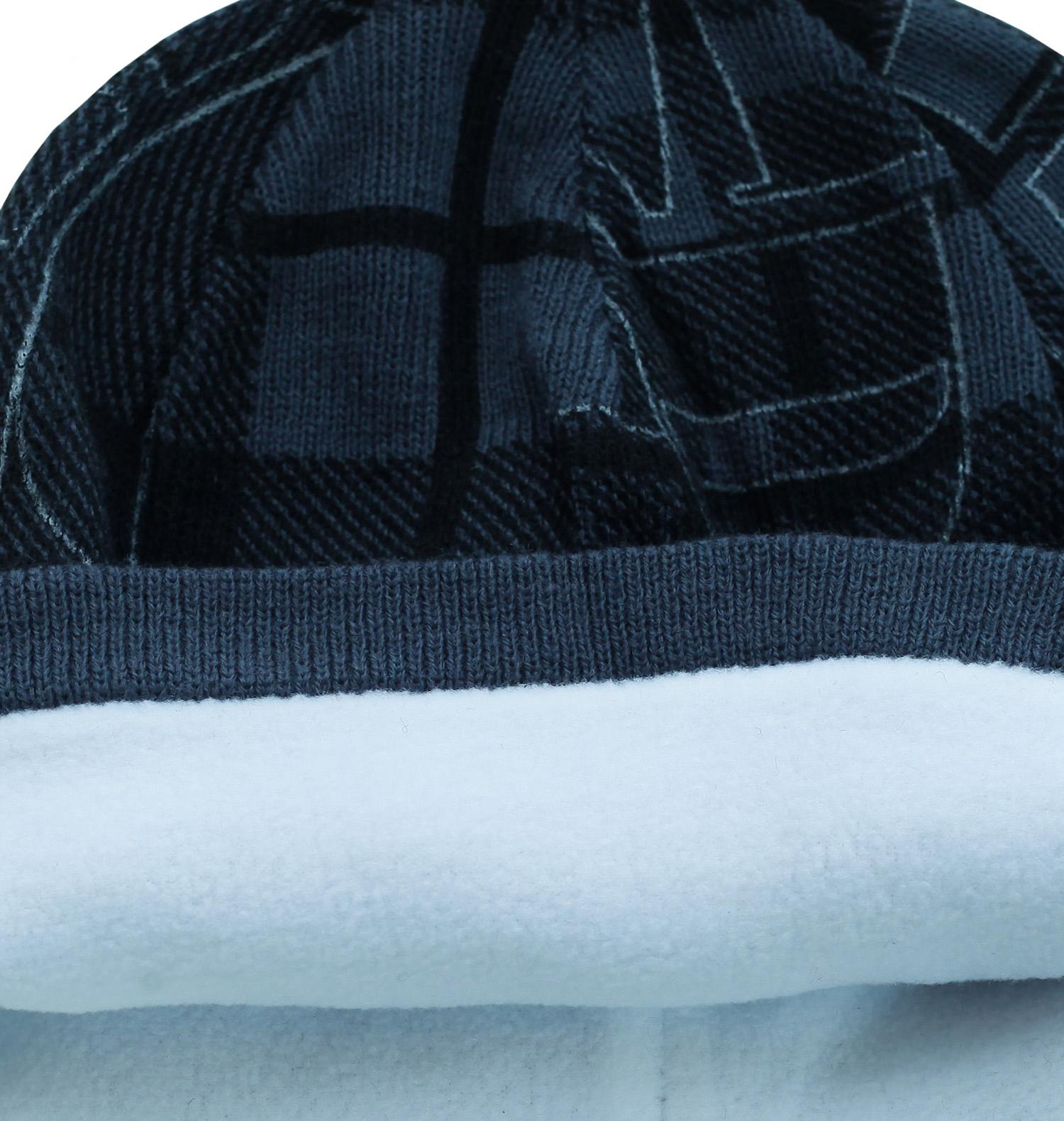 Купить трендовую мужскую шапку с геометрическим узором всем кто в спорте на флисе по низкой цене