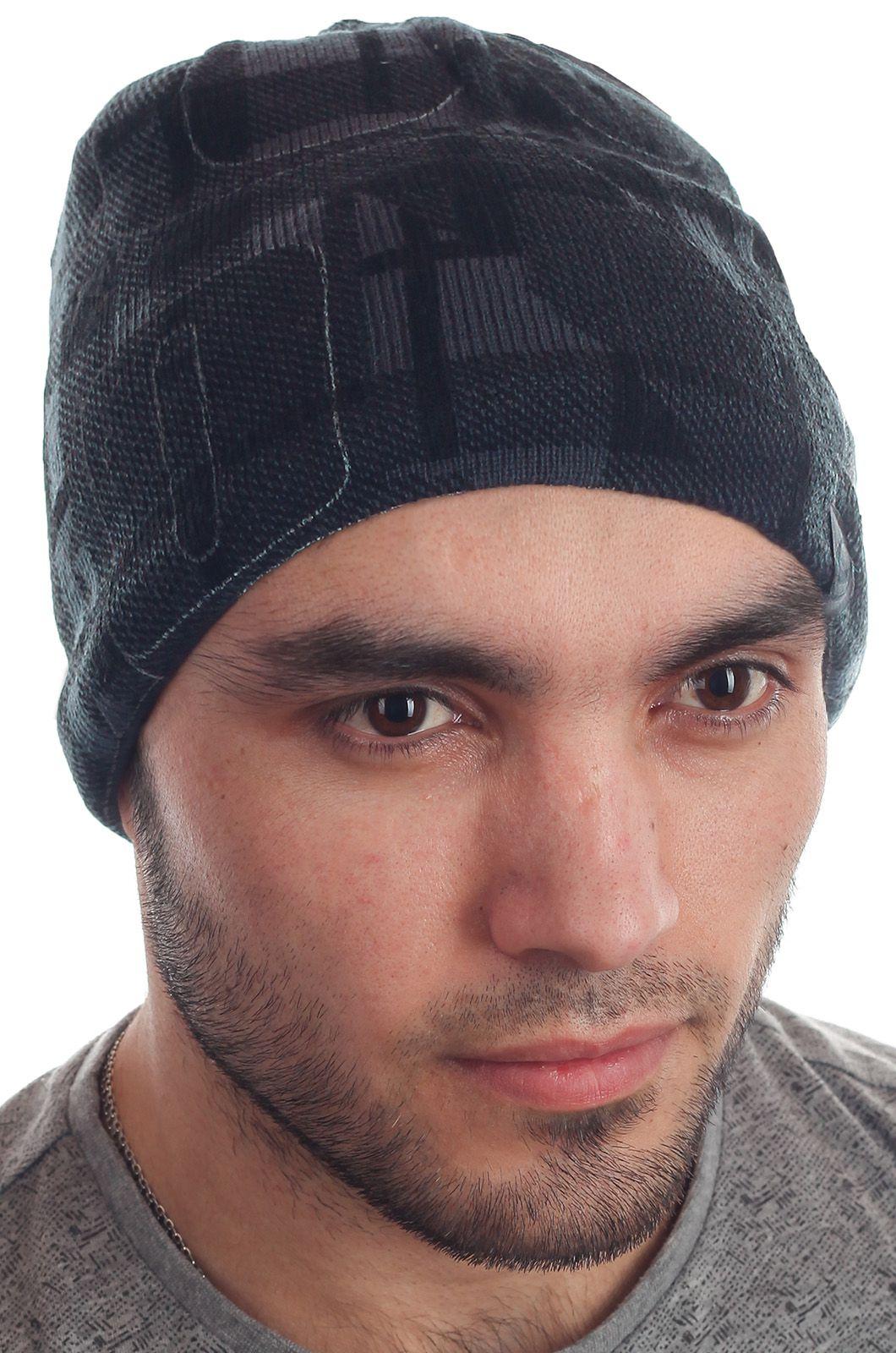 Трендовая мужская шапка с геометрическим узором всем кто в спорте на флисе