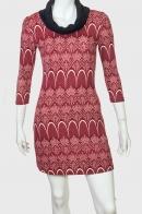 Трендовое красное платье с воротником-хомутом
