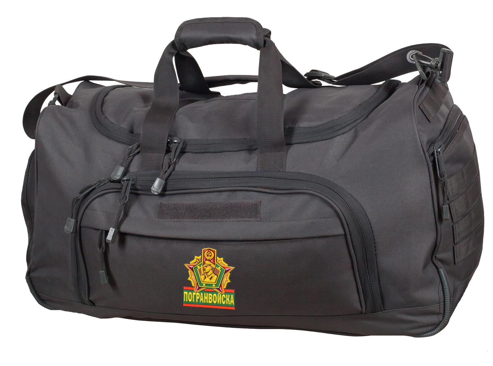 Тревожная темно-серая сумка 08032B с нашивкой Погранвойска - заказать онлайн