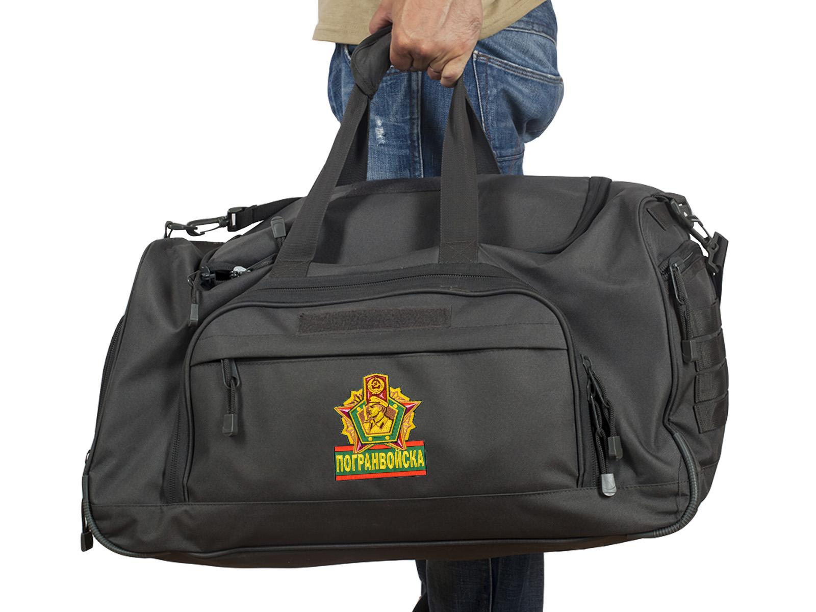 Купить тревожную темную-серую сумку 08032B с нашивкой Погранвойска с доставкой в ваш город