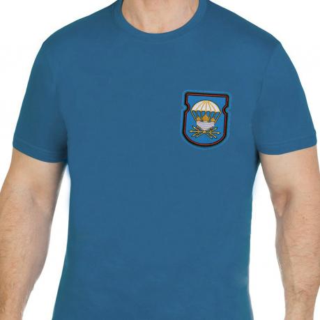 Трикотажная бирюзовая футболка с вышивкой ВДВ