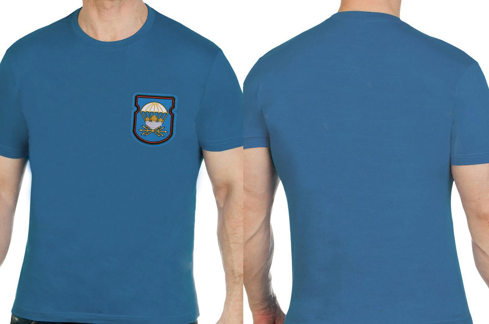 Трикотажная бирюзовая футболка с вышивкой ВДВ - купить в подарок