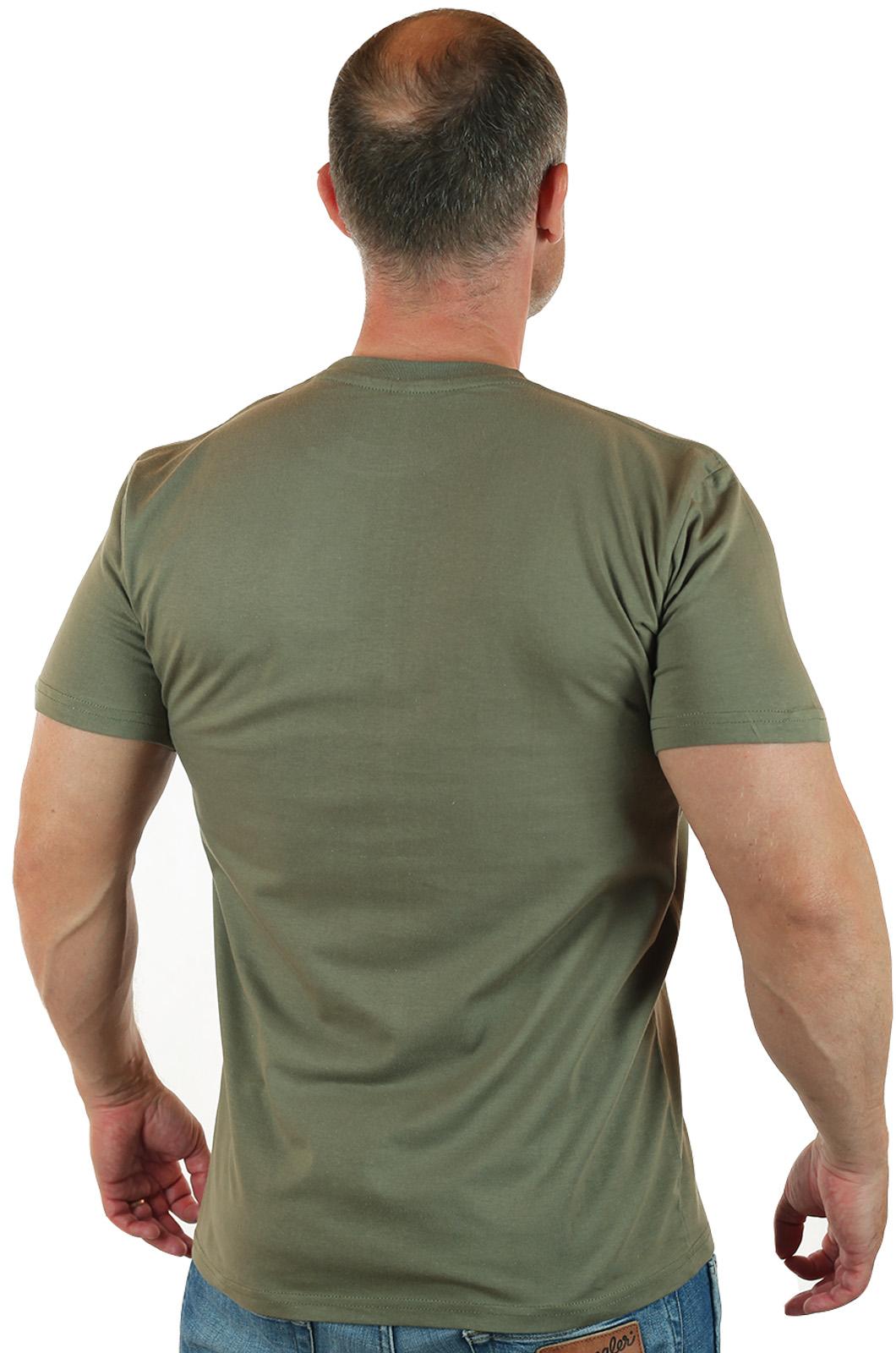 Трикотажная футболка хаки с нашивкой Пограничная служба купить оптом