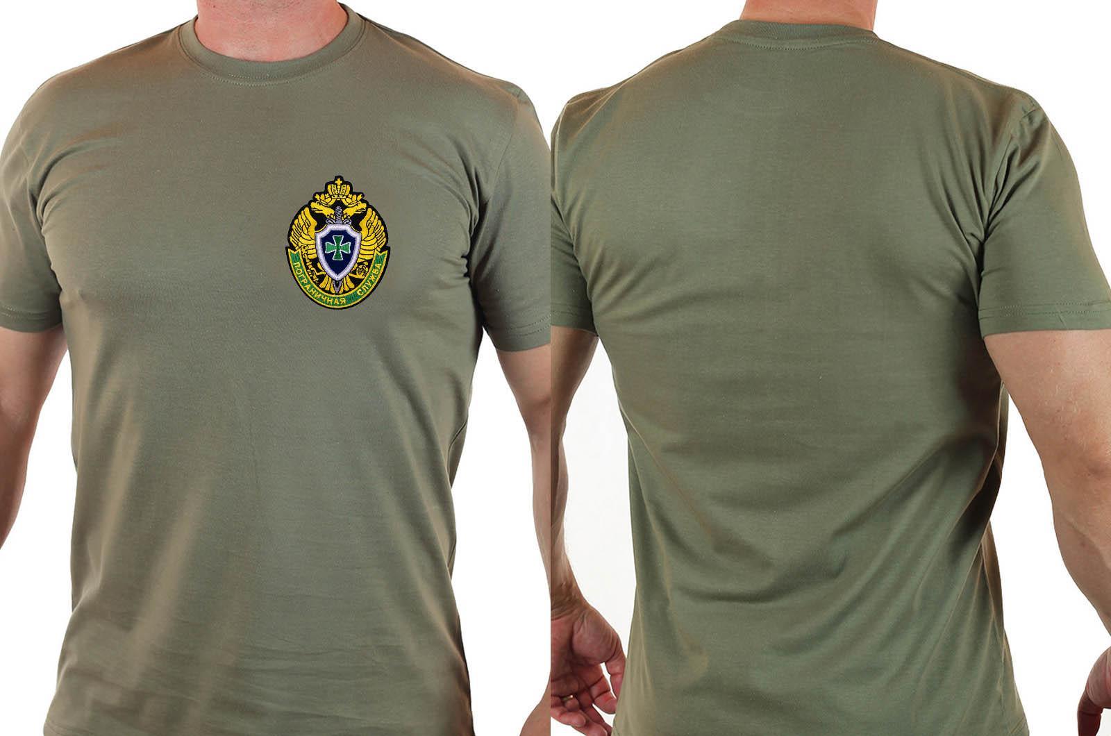 Трикотажная футболка хаки с нашивкой Пограничная служба купить выгодно