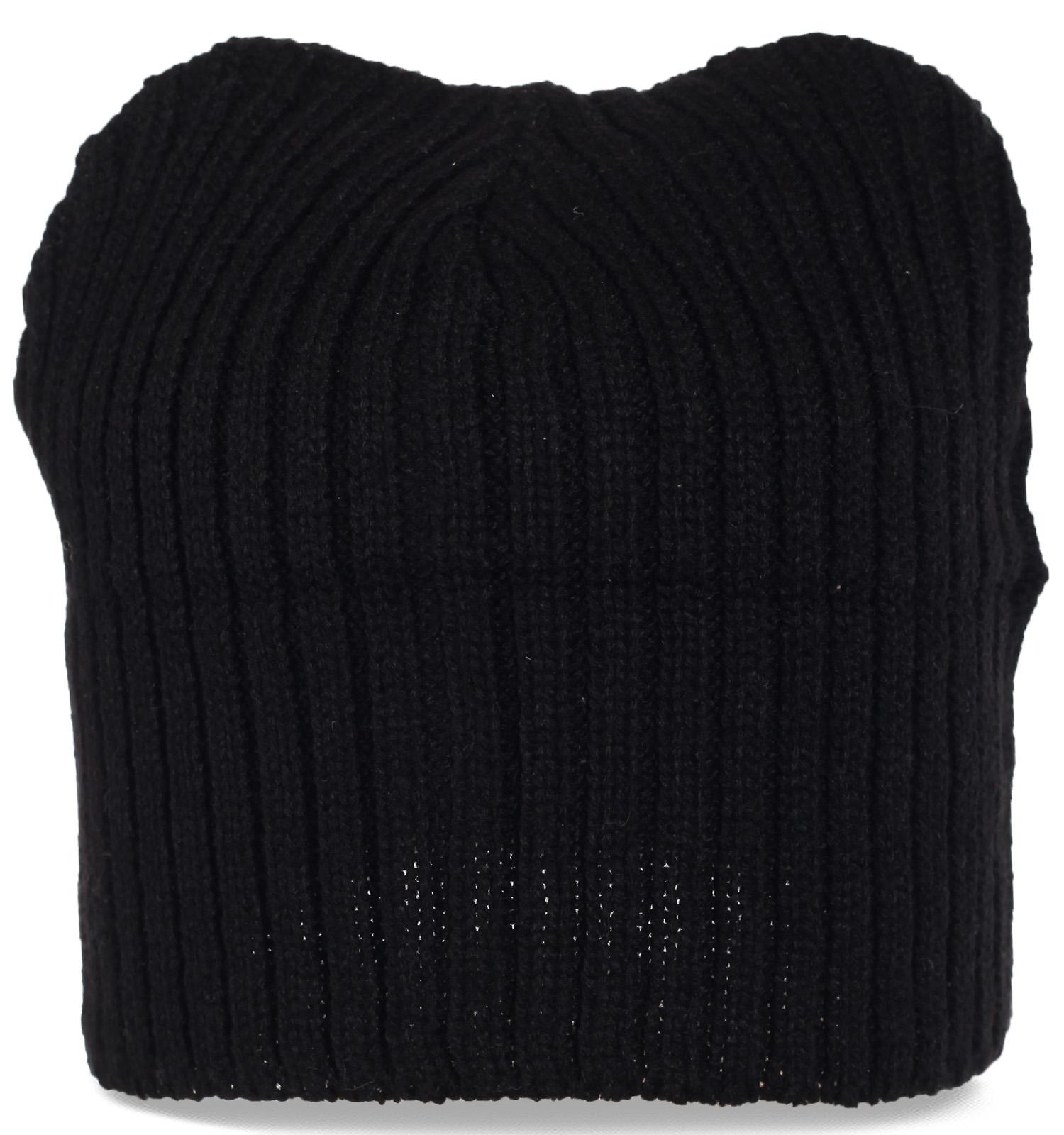 Трикотажная мужская черная шапка бини
