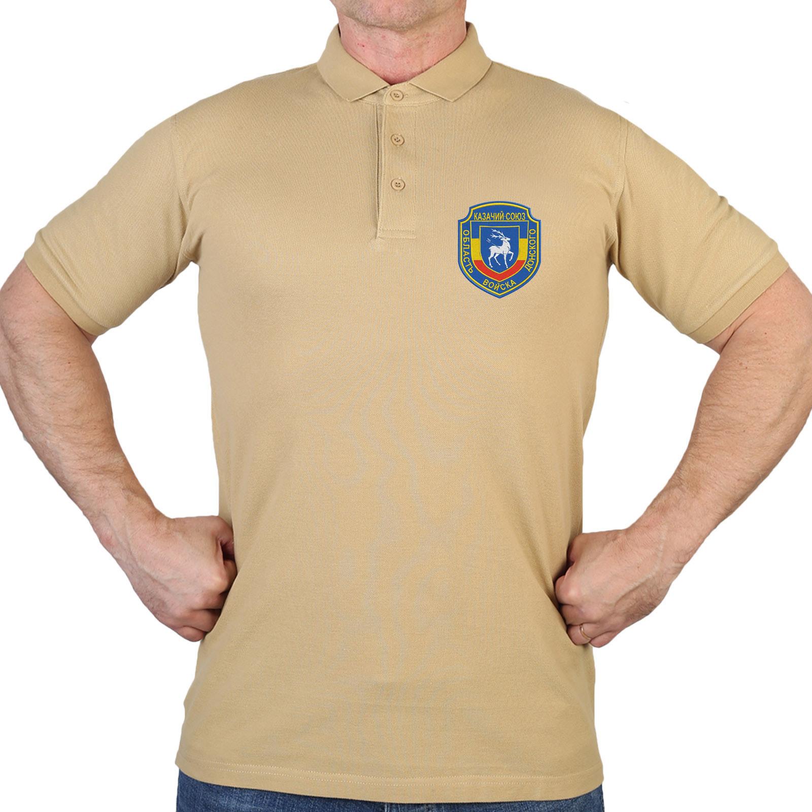 Трикотажная мужская футболка-поло с вышивкой Казачий союз