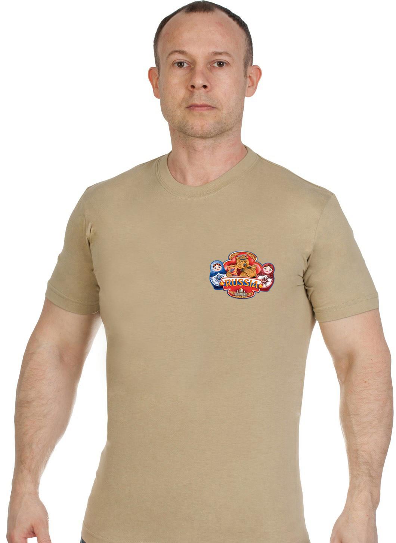 Купить трикотажную мужскую футболку Россия оптом или в розницу