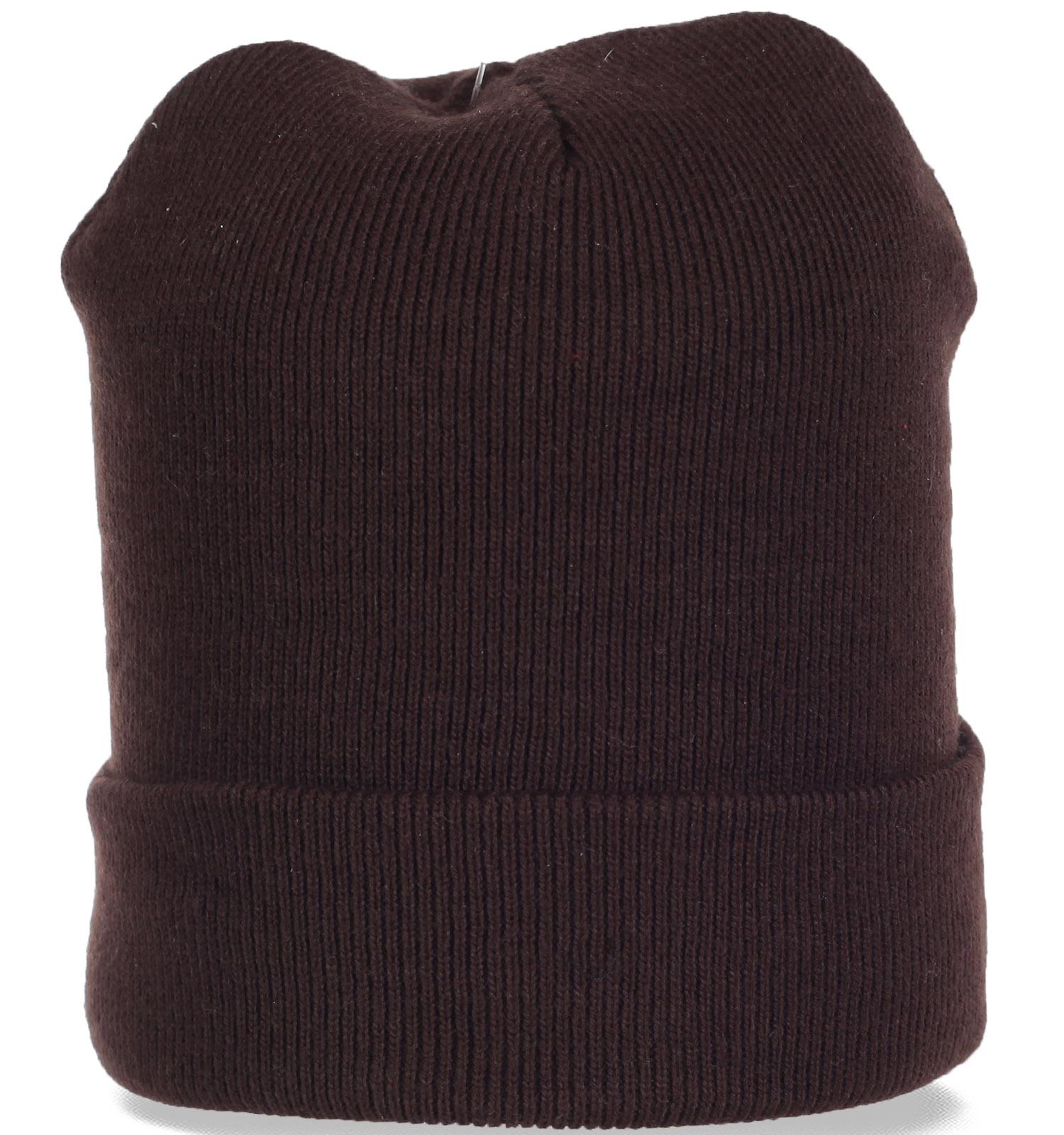 Трикотажная мужская шапка с отворотом