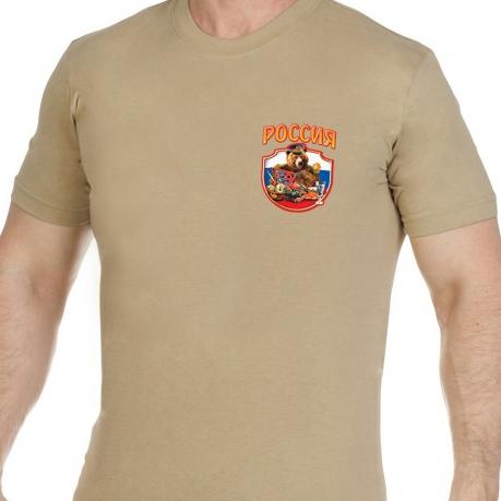 Трикотажная песочная футболка Россия