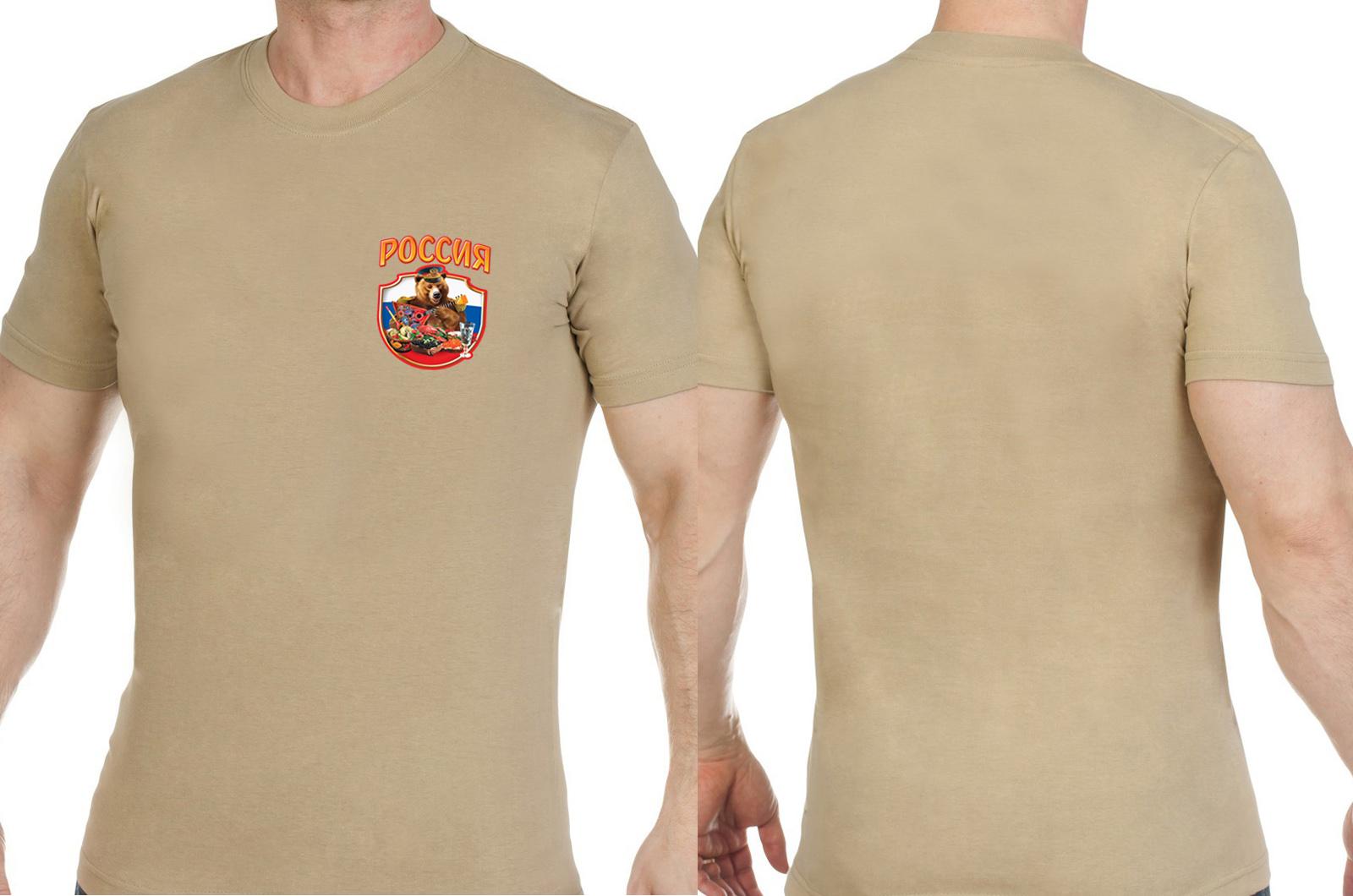 Трикотажная песочная футболка Россия - заказать онлайн