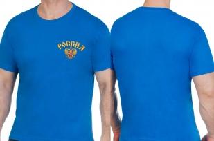 Трикотажная синяя футболка Россия - купить в подарок