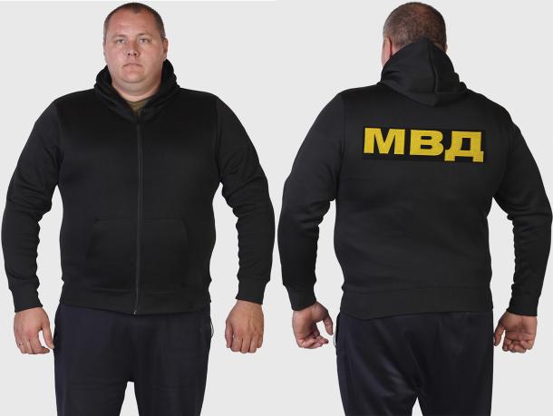 Трикотажная толстовка с вышитой аббревиатурой МВД.