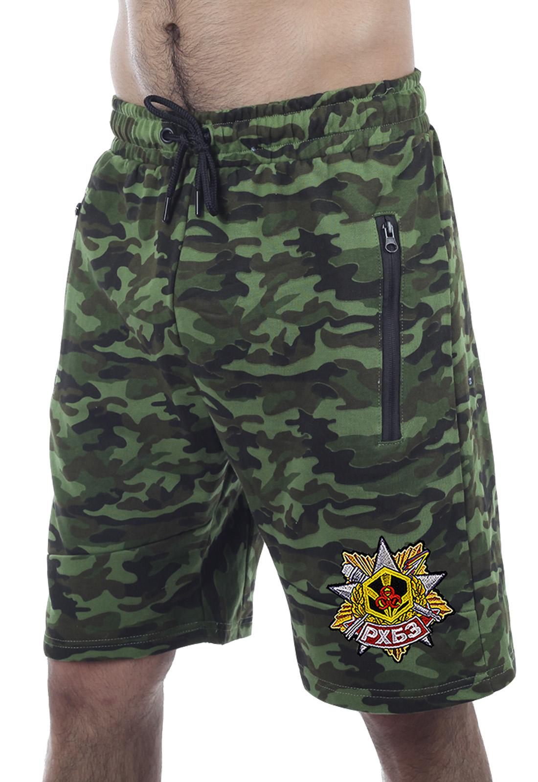 Купить трикотажные милитари шорты с карманами и нашивкой РХБЗ с доставкой в любой город