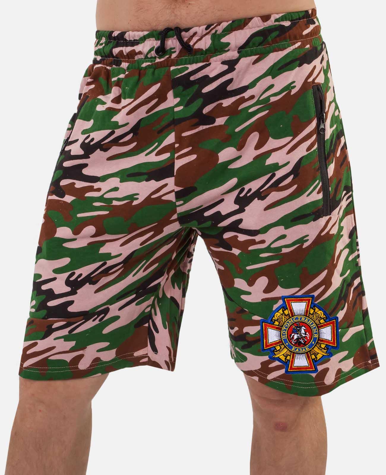 Трикотажные мужские шорты с нашивкой Потомственный казак заказать в розницу и оптом