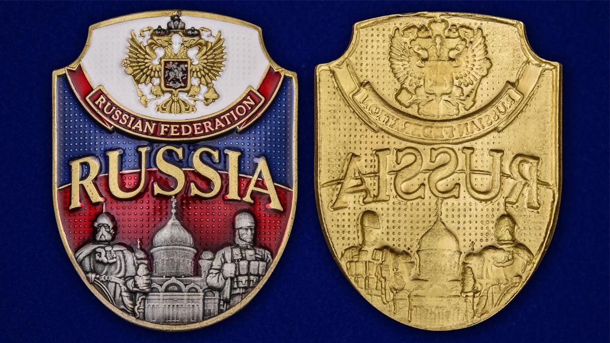 """Цветная металлическая накладка """"Russia"""" высокого качества"""