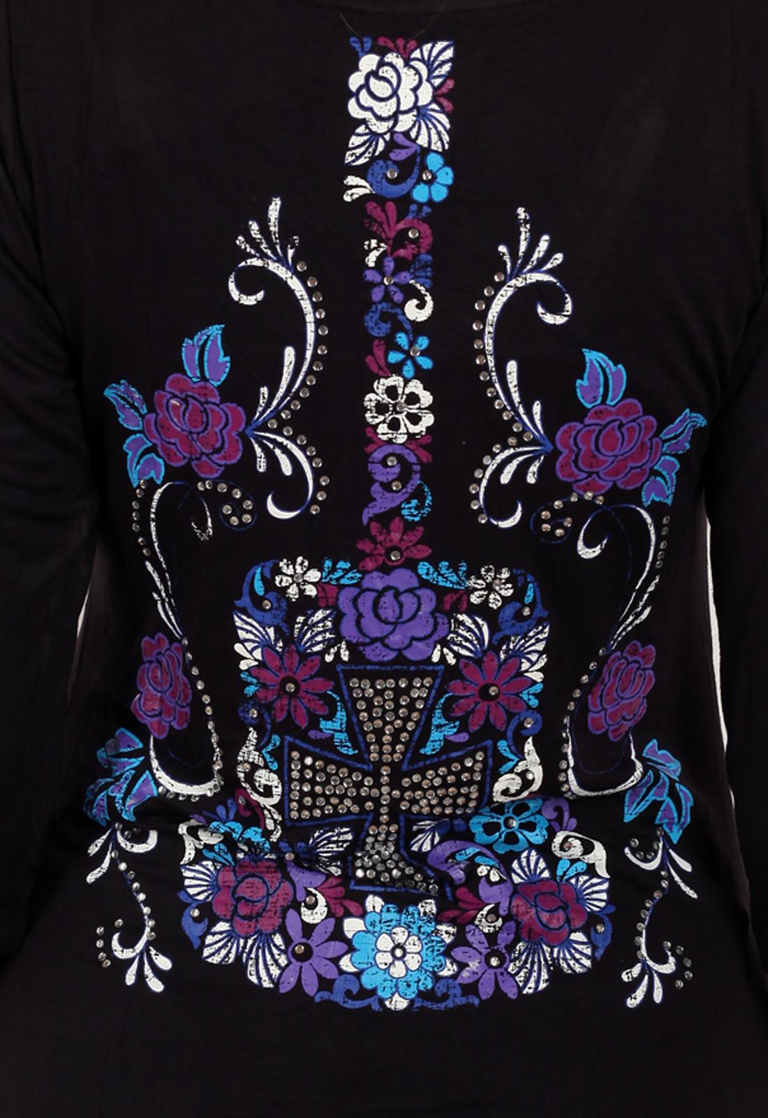 Эффектная чёрная туника Panhandle Slim с рукавом ¾. Невероятный декор спины в стиле GLAM ROCK