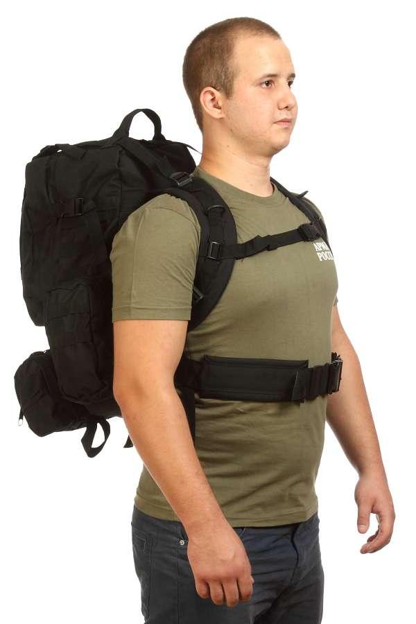 Туристический черный рюкзак с нашивкой Ни пуха, Ни пера! - заказать оптом