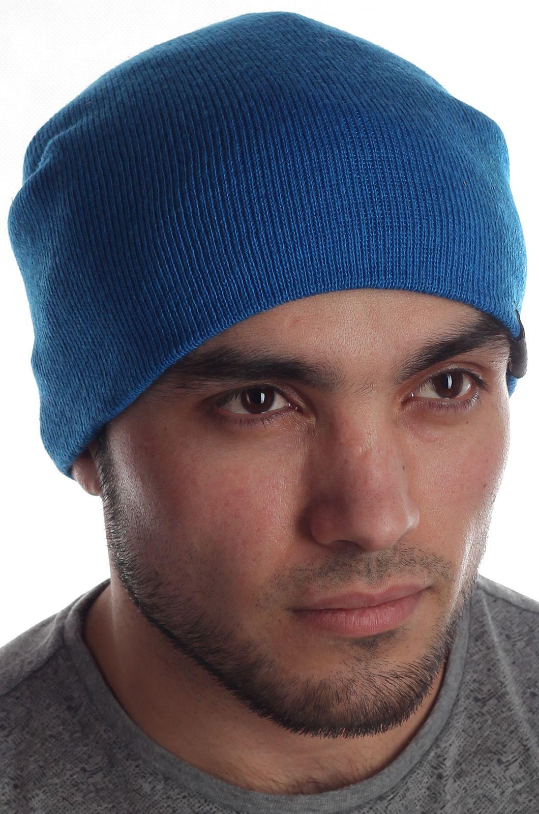 Удлиненная мужская трикотажная шапка – колпак лаконичного дизайна