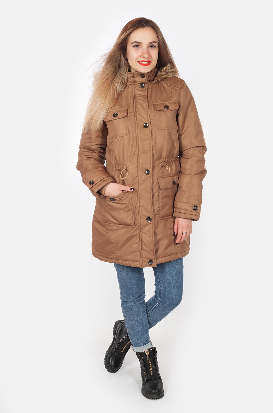 Молодежная куртка парка с большим капюшоном