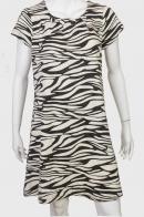 Удлиненное платье-туника с черно-белым принтом