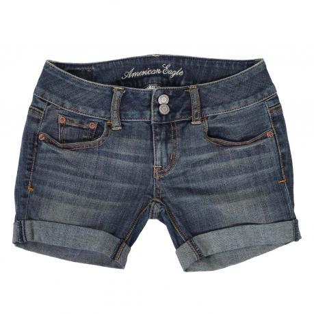 Купить удлиненные джинсовые шорты с подворотами