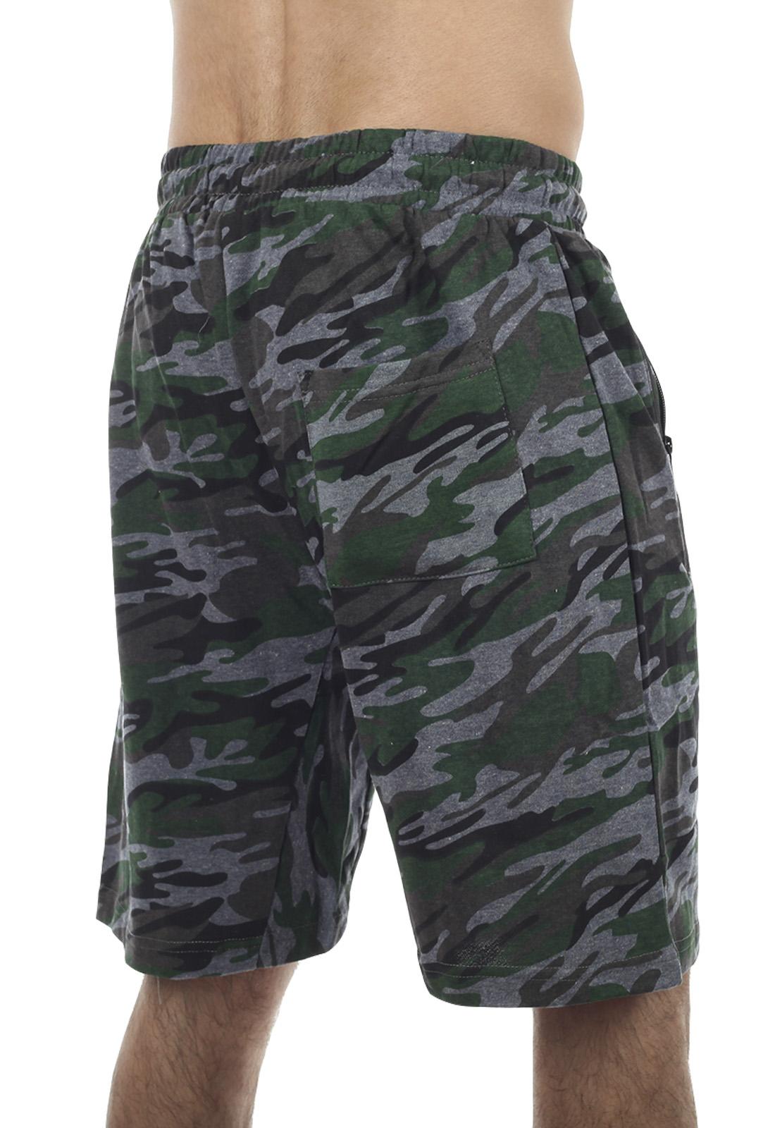 Удлиненные камуфлированные шорты с нашивкой РХБЗ - заказать с доставкой