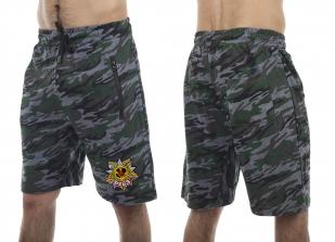 Удлиненные камуфлированные шорты с нашивкой РХБЗ - заказать по низкой цене