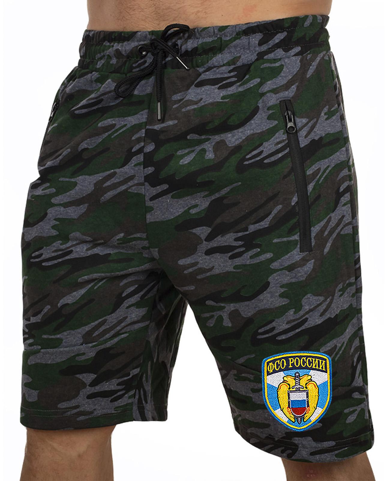 Купить удлиненные крутые шорты с нашивкой ФСО оптом или в розницу