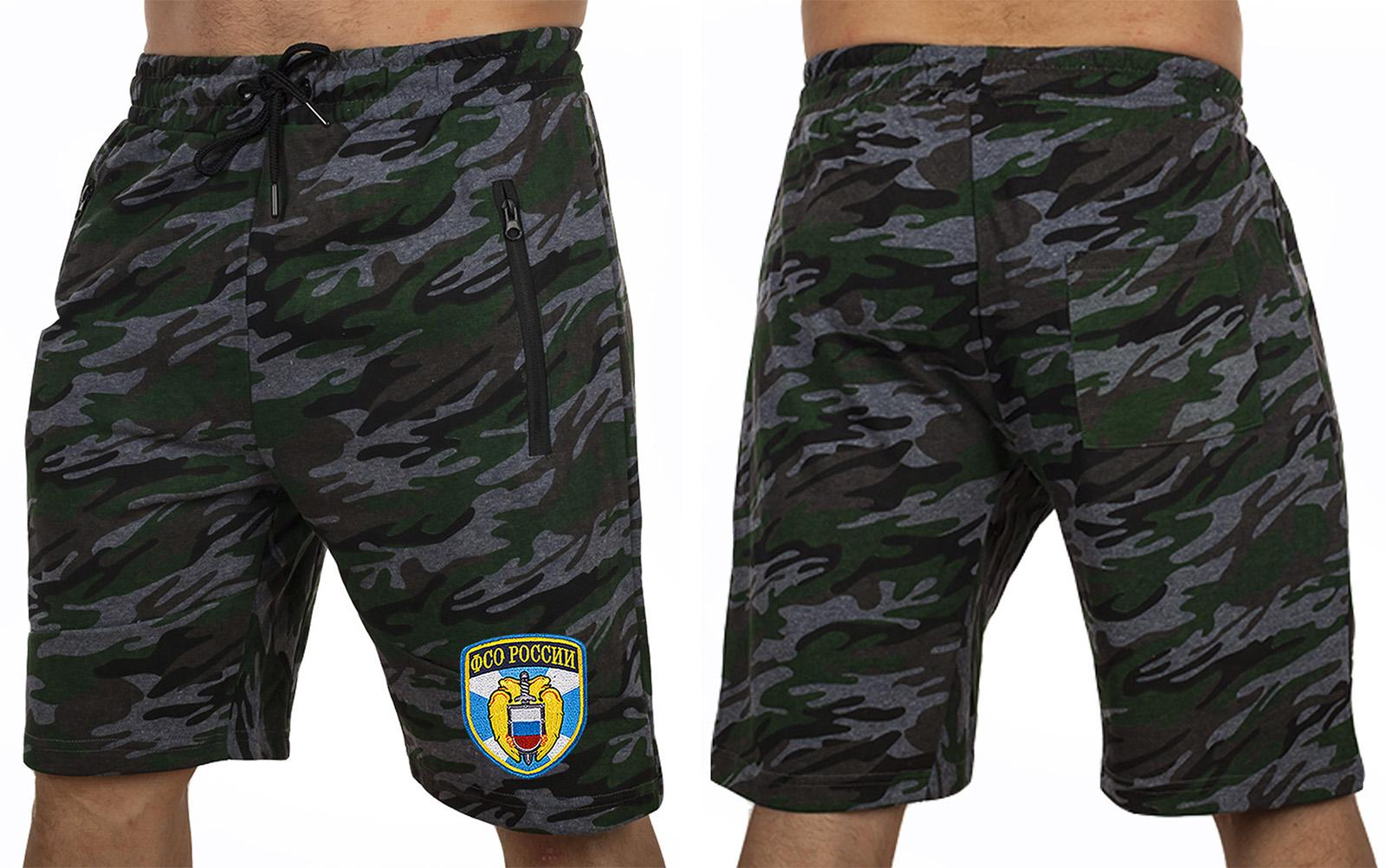 Удлиненные крутые шорты с нашивкой ФСО - купить с доставкой