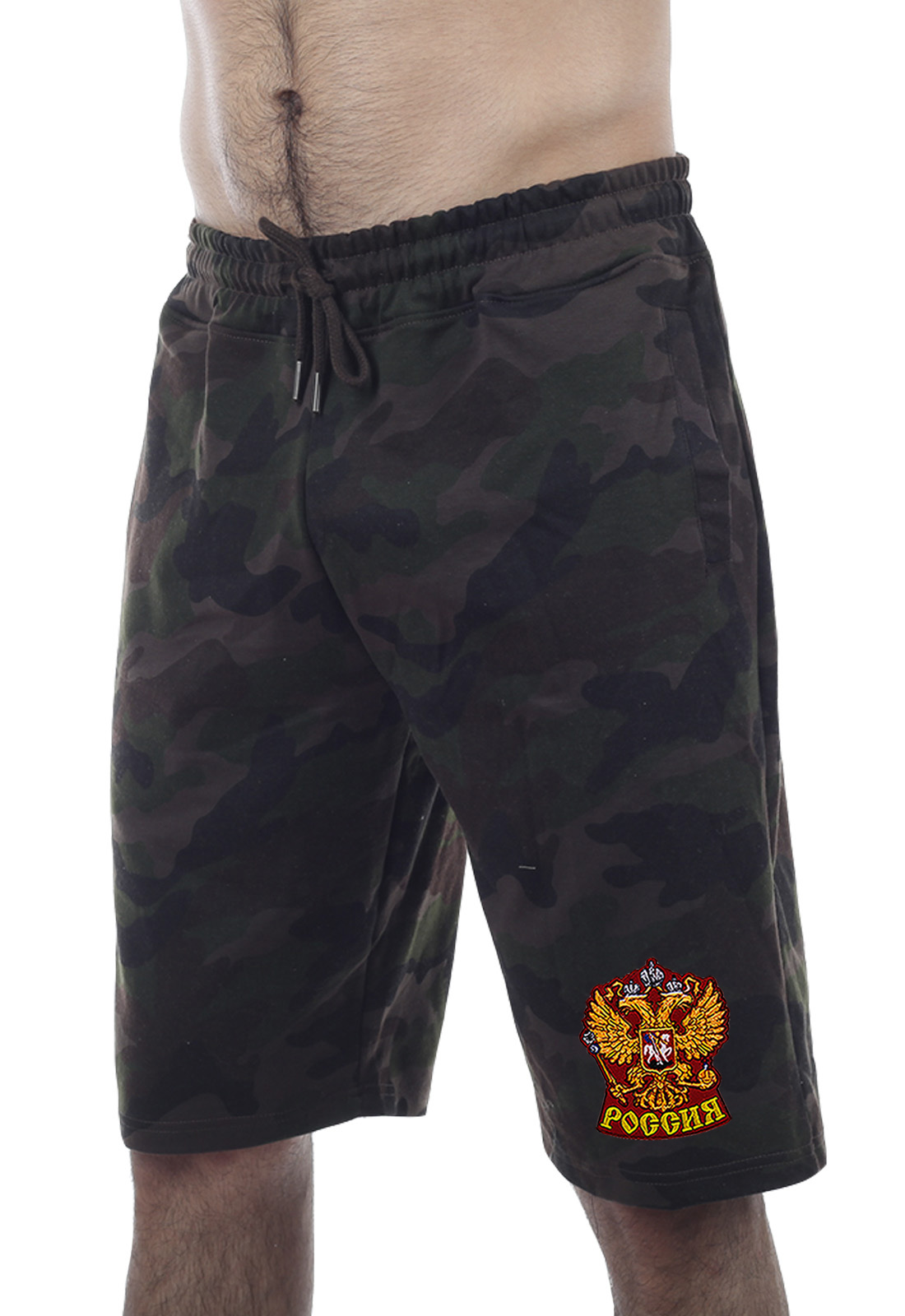 Купить удлиненные милитари шорты с нашивкой Россия по специальной цене
