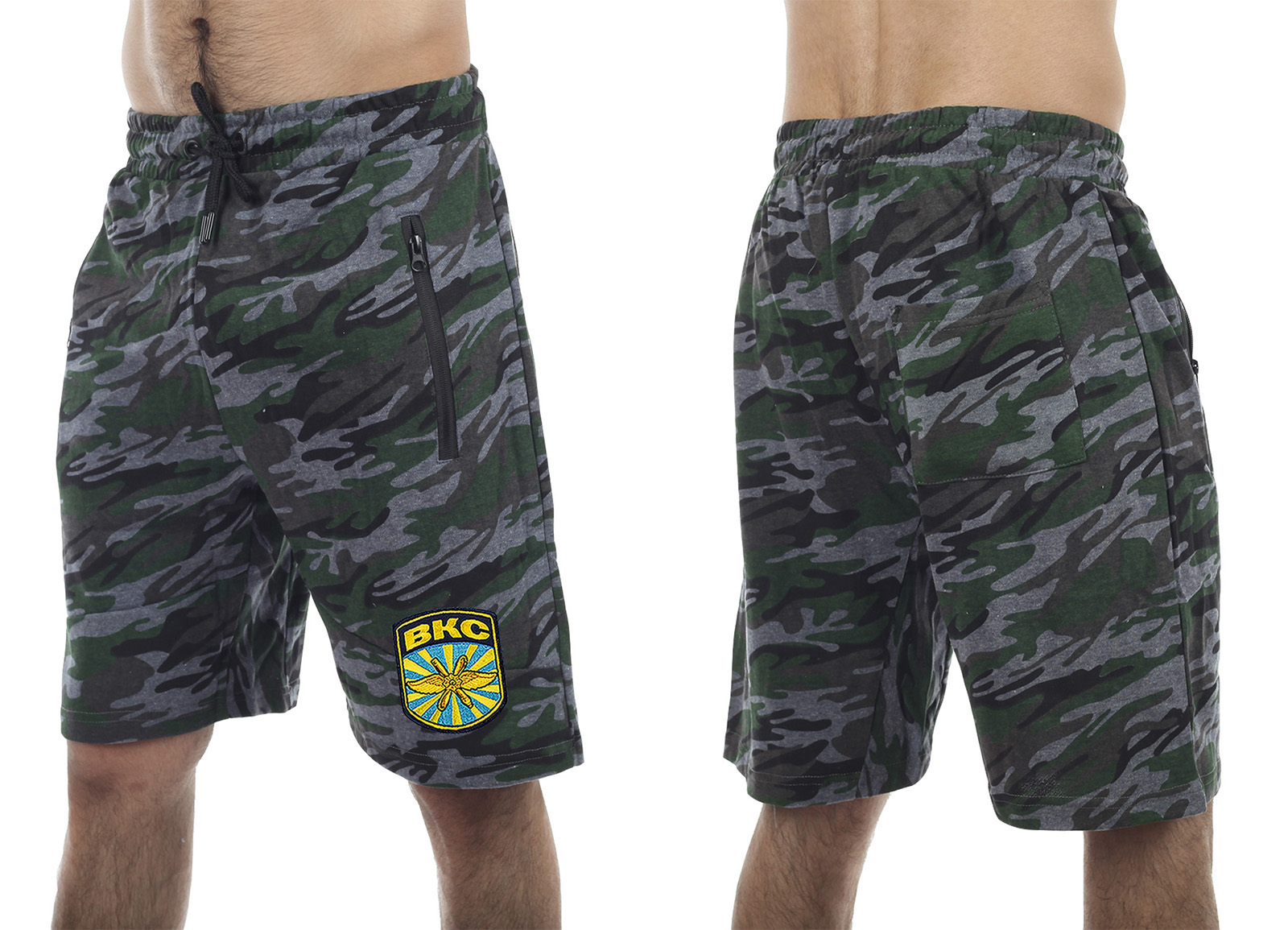Удлиненные мужские милитари-шорты с нашивкой ВКС - купить с доставкой