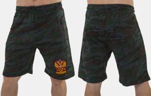 Удлиненные мужские шорты с нашивкой Россия - купить с доставкой