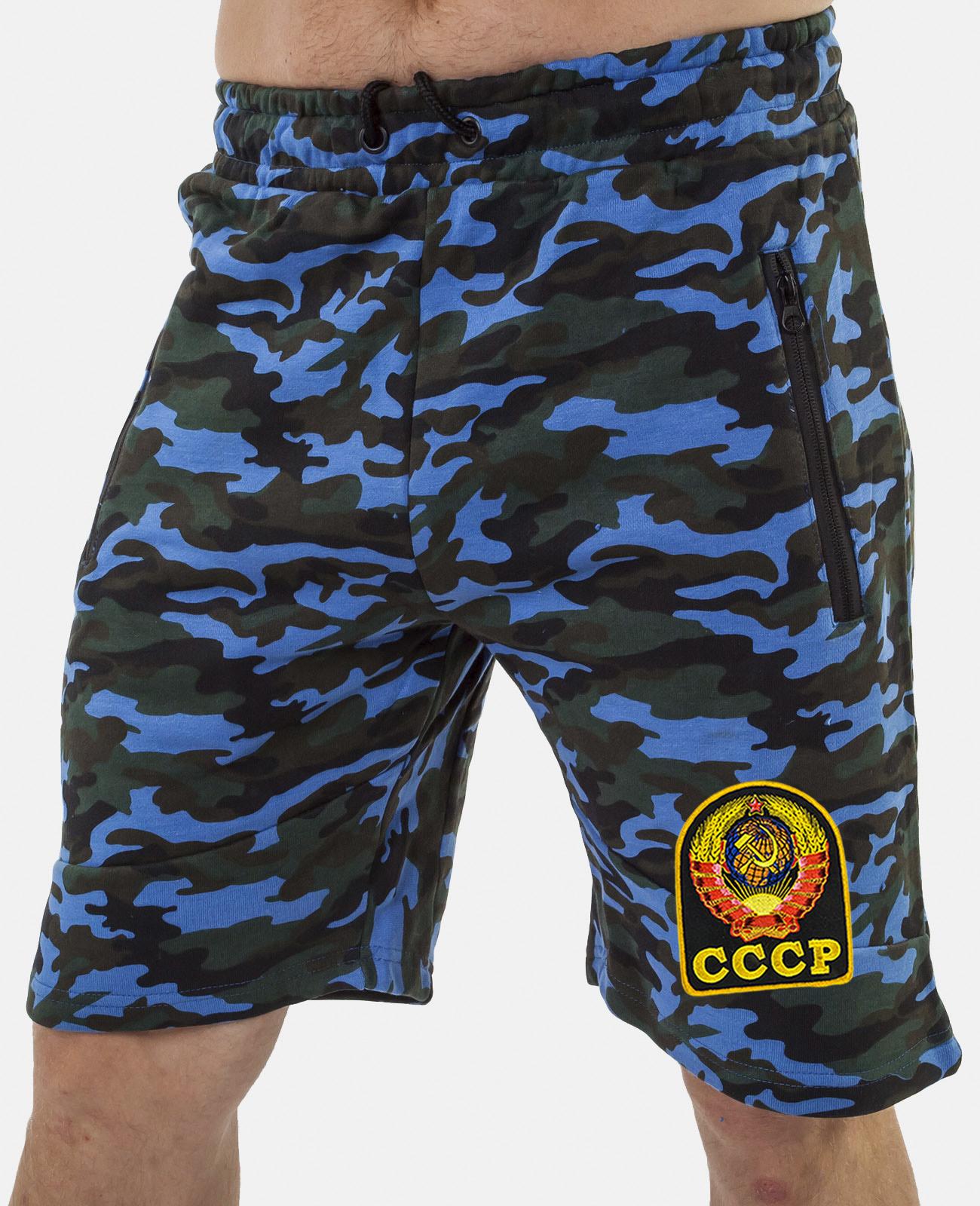 Купить удлиненные мужские шорты с нашивкой СССР оптом или в розницу