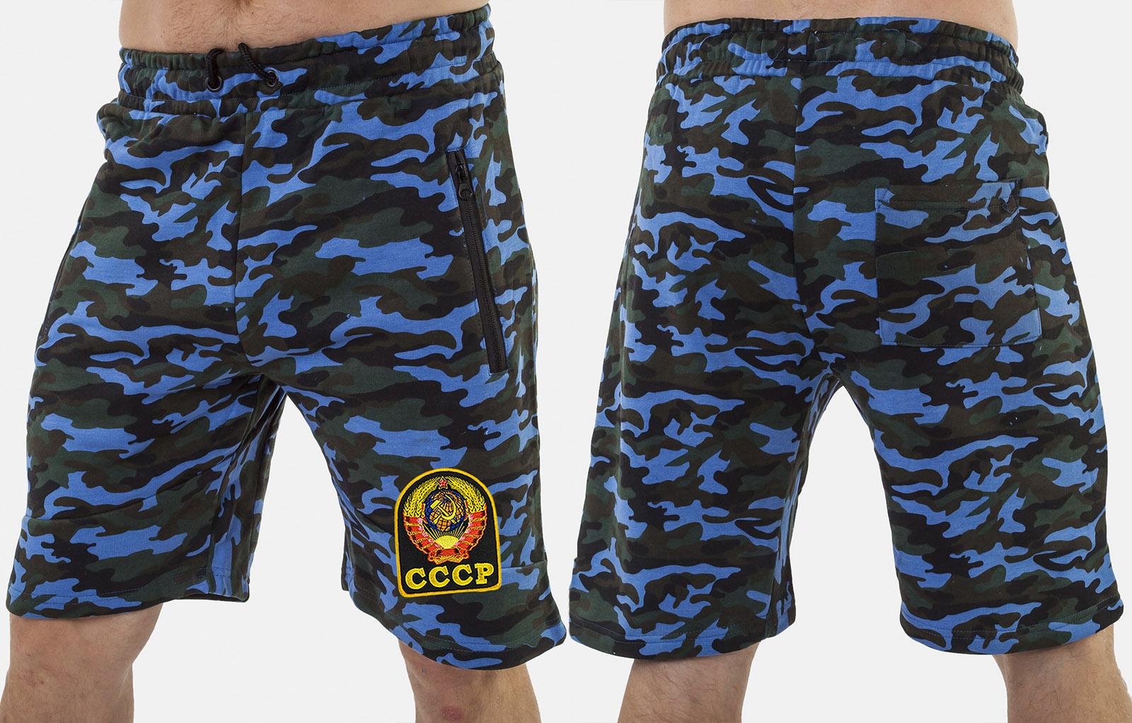 Удлиненные мужские шорты с нашивкой СССР - купить по низкой цене