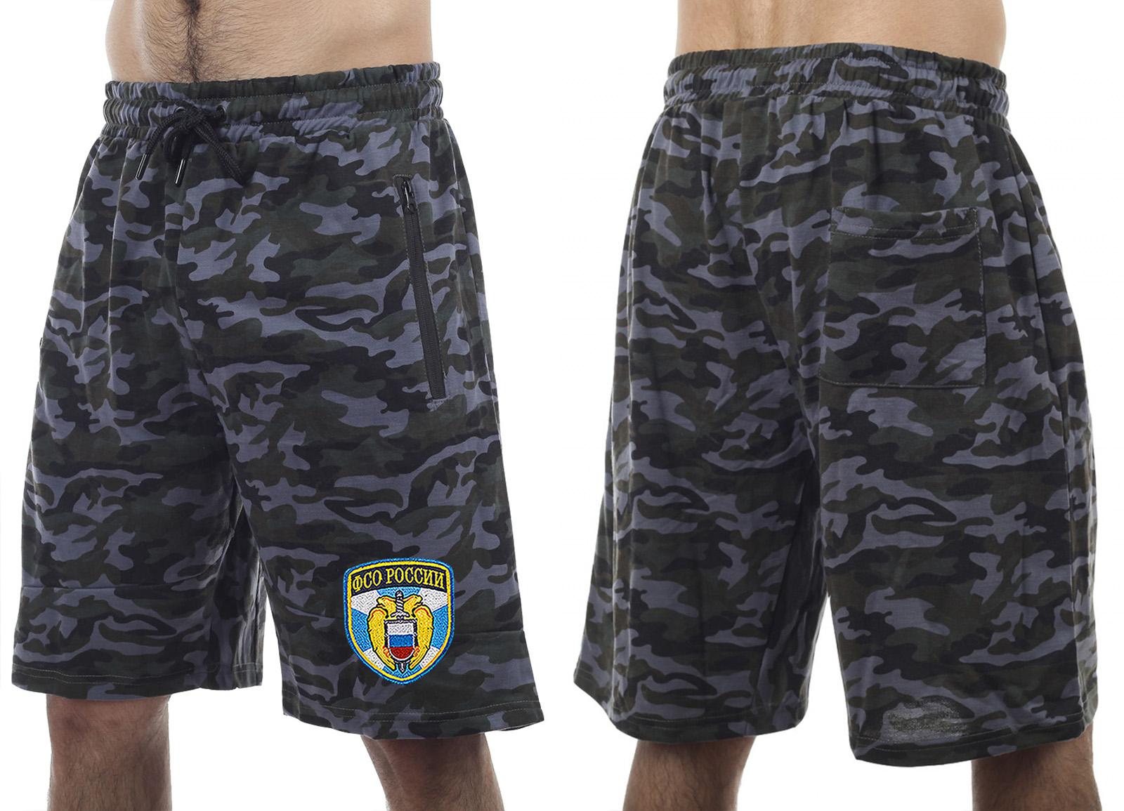 Удлиненные свободные шорты с карманами и нашивкой ФСО - купить онлайн