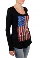 Удлиненный женский реглан Rock and Roll Cowgirl с американским флагом из пайеток и звёздочек. Откажись от скучных вещей!