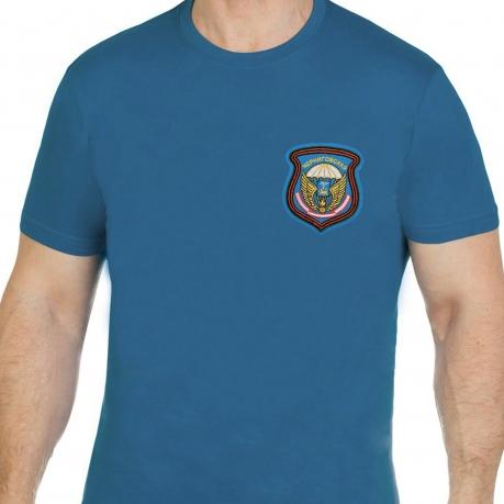 Удобная бирюзовая футболка с вышитой эмблемой ВДВ