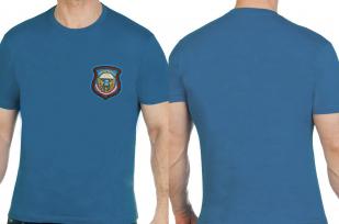 Удобная бирюзовая футболка с вышитой эмблемой ВДВ - купить оптом