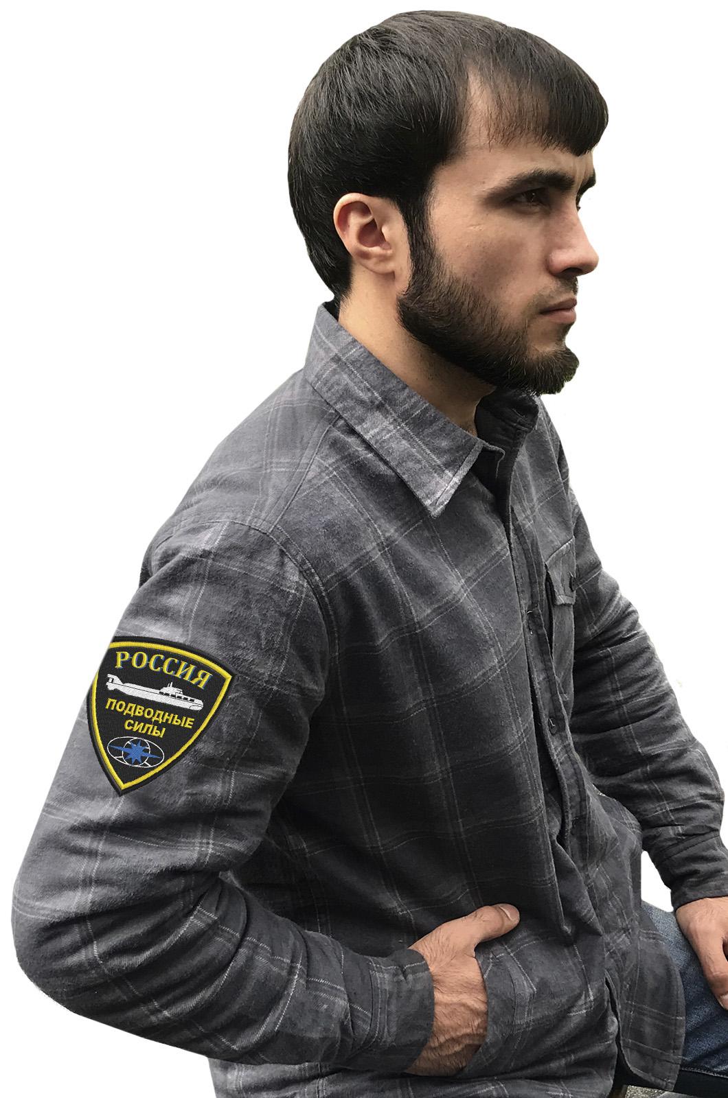 Удобная мужская рубашка с эмблемой Подводных сил России купить выгодно