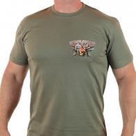 Удобная оливковая футболка с символикой Армии России