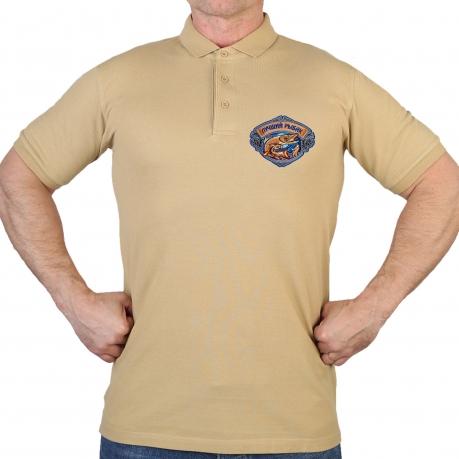 Удобная песочная футболка-поло с вышивкой Лучший Рыбак